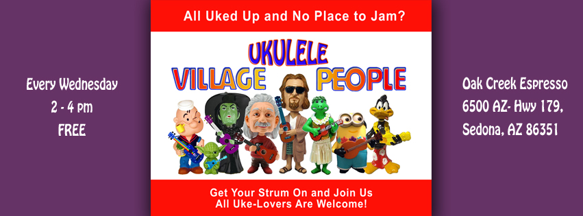 Village Ukulele People (Image © Gazda Studios) meets every Wednesday from 2-4pm at Oak Creek Espresso, 6500 AZ-Hwy 179, Sedona, AZ 86351
