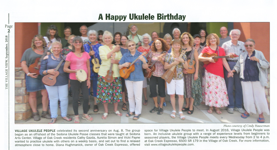 Village Ukulele People celebrates its second anniversary! Article and photo from The Village View - September 7, 2018 issue, page 2